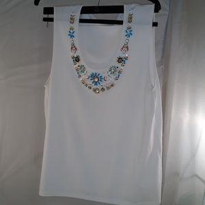 White top, sz L, beaded neckline